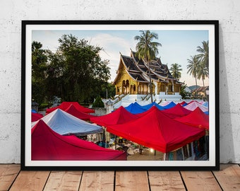 Laos Temple Photo // Asia Travel Photography, Buddhist Temple Wall Art, Luang Prabang Home Decor, Buddhism Office Art, Sacred Buddha Temple