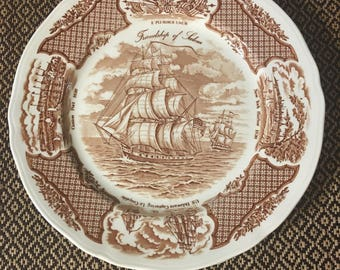 """Set of Three Fair Winds The Friendship of Salem Dinner Plates 10-1/2"""" Alfred Meakin Staffordshire England 1970s"""