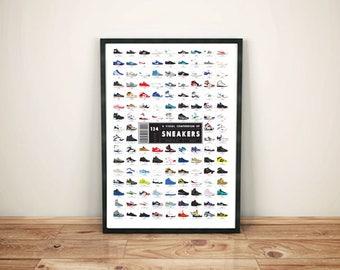 Sneaker Head Nike Poster- Classic Shoes Print - Sneaker Poster Art Print -Nike Gift shoe lover gift