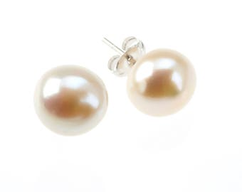 White Cream Freshwater Pearl and Sterling Silver Stud Earrings