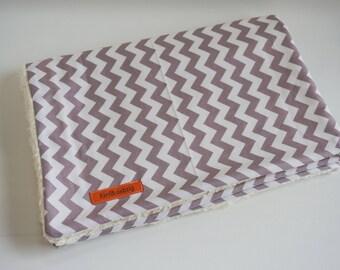 Baby Blanket * Stroller Blanket * Eco-Plush * Chevron * grey/white