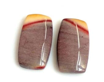 Mookite Jasper Rectangal Pair Cabochon,Size- 19x10 MM, Natural Mookite Jasper , AAA,Quality  Loose Gemstone, Smooth Cabochons.