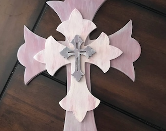 Hand Painted Wooden Stacked Cross