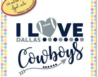 Dallas Cowboys SVG,DXF,clipart, i love cowboys svg, dallas cowboys cut file, dallas cowboys vinyl cut, sport svg, football svg