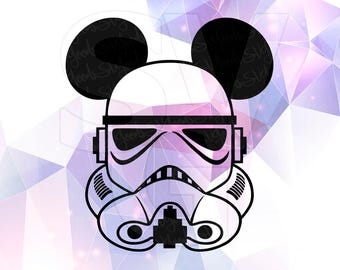 Star Wars Stormtrooper Mickey Ears Disney SVG DXF Cricut Design Space Cameo Silhouette Studio Vinyl Cut File Screen Printing Storm Trooper