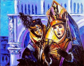 Venice, Masks, original oil painting on canvas palette knife wall art