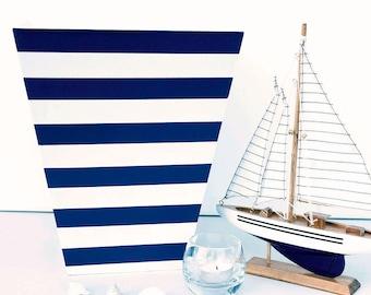 Hand Painted Sailing Stripe Waste Paper Bin - Durlston Blue