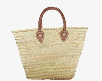 French Market Basket, Short Leather Handle, Natural