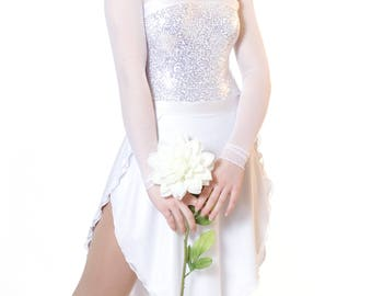 Women's Figure Skating Dance Competition Dress Figure Ice Skating Dress - Wedding Bride