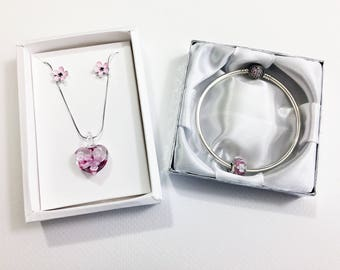 3 Piece Pink Heart & Flowers Bracelet, Necklace w/Pendant and Earring Set. Sterling Silver, Glass, Enamel w/Gift Boxes and Lace Gift Bags