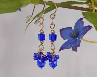 Bright Blue Crystal Earrings, Blue crystal dangle earrings, Royal Blue Earrings, Sapphire blue earrings, Jeweltone earrings, crystal dangles