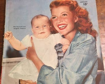 Motion Picture magazine January 1946- Rita Hayworth Cover