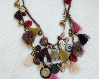 Chain necklace, long necklace, vintage buttons necklace, shabby chic jewelry, chain necklace cork, boho jewelry tassel , pendent necklace