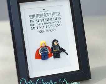 Thor, Lego, Superhero, gift, daddy, gift for him, lego minifigures, for valentine, father's day, anniversary, birthday inspired by LEGO
