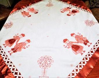 Vintage Scandinavian Tablecloth, Scandinavian Couple Tablecloth, Swedish vintage tablecloth, Applique Embroidered Tablecloth,