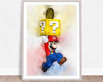 super mario print game mario poster game print watercolor painting effect instant - Super Mario Pictures To Print