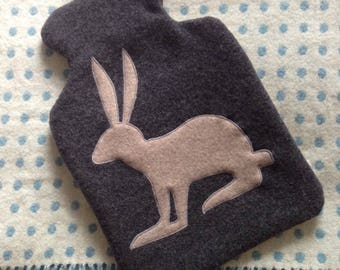 Winter cashmere hare/rabbit hot water bottle cover in dark grey and light grey combination great for a christmas present