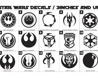 Star Wars Decals 3inches and up