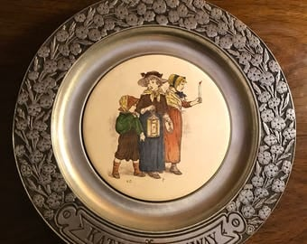 Vintage Kate Greenaway Pewter Plate/ Illustrator