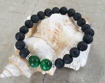 Diffuser Black Lava Rock Bracelet with Green Jasper Gemstones