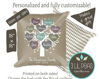 Family Tree Gift, Personalized Family Tree Pillow, Parents Gift, Birthday Gift for Grandparents, Mother's Day Grandmother Gift,