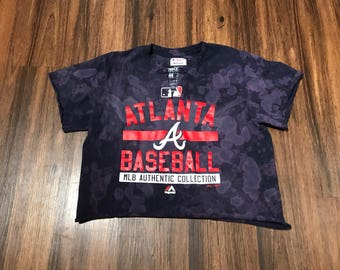 FADED ATL Braves Baseball Crop Tee
