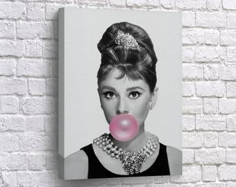 Beau Audrey Hepburn Gum Canvas Print Breakfast At Tiffanyu0027s Wall Art Pop Art  Canvas Photo Home Decor