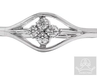9ct white gold elica four stone ring