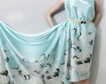 Digital crane printed blue faux silk satin fabric material for dressmaking and Decor by the meter YGST-5003
