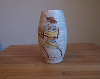 Fratelli FANCIULLACCI 1960 Italy Ceramic vase with Egyptian depiction