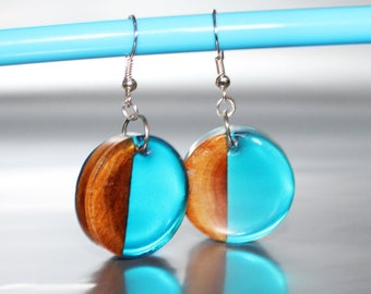 Resin Wood Jewelry Gift Blue Drop Earrings, Wood Inspire Jewelry Gift Natural Earrings, Stylish Jewelry Art Gift For Her Resin Wood Earrings
