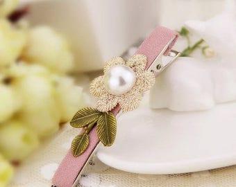 Floral Leaf Pearl hair clips/ Pink / Rose Gold/ Wedding/Cute / Hair Alligator Clip hair accessory