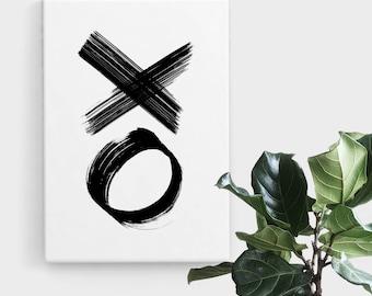 XO Brush Strokes Print, Print Art, Brush Stroke Art, Abstract Art, Scandinavian Print, Minimalist Art, Digital Art, Printable Art