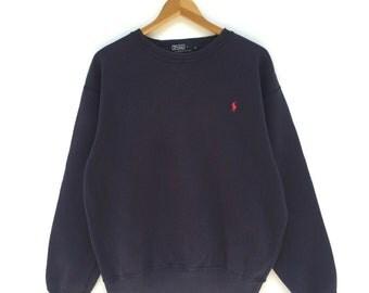 RARE!!! Vintage Sweatshirt Polo by Ralph Lauren Blue Colour Size S
