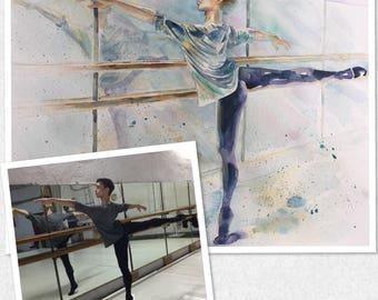Custom Ballet Dancer Figure ORIGINAL Watercolor Painting Artwork from Photo