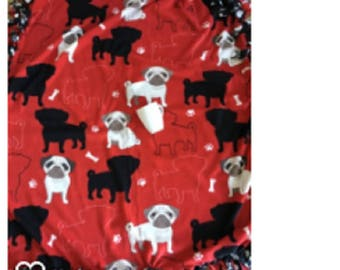 Pug fleece dog blanket