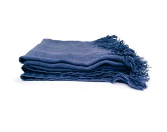 Bedspread boutis blue fringed 100% washed linen (130 cm X 170 cm)