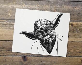 Yoda - Jedi Master Yoda - Star Wars - Fan Art - Darth Vader Print - Gift for Him