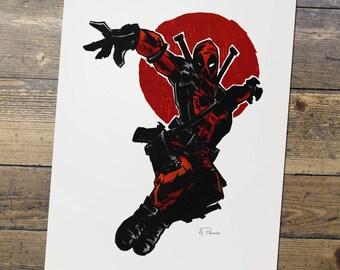 Deadpool - Marvel - Fan Art - Deadpool Print - Gift for Him