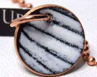 Enameled Penny Pendant-Lines in The Snow