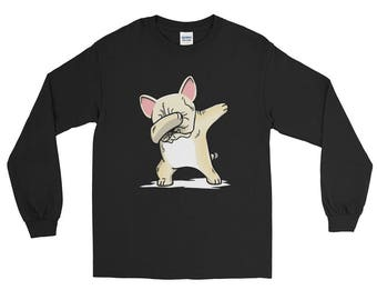 Cute Dabbing Cream French Bulldog Dog Long Sleeve T-Shirt Funny Frenchie Dab Dance Gift