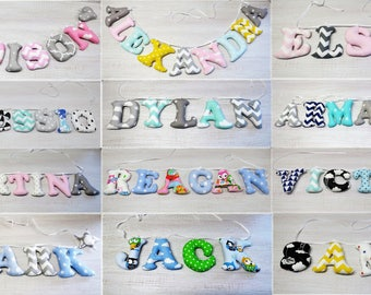 Name Banner, Fabric Letters Personalised, Nursery Wall Decor, Baby Name Garland, Bunting Letters, Baby Name Letters Hanging, Wall Hanging