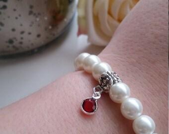 January Birthstone Bracelet, Garnet Charm, White Satin Pearl Beaded Bracelet