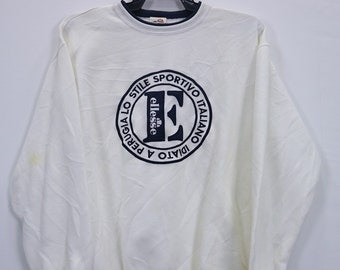 Vintage Ellesse Sweatshirt Big Logo spell out Embroidery Jumper Crewneck Large size White colours