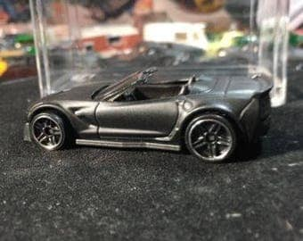Custom Hot Wheels Corvette C7 Z06 Convertible Flat Black