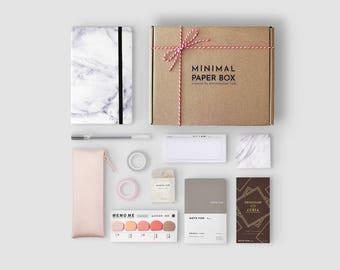 Marble Bullet Journal Starter Kit | Minimal Paper Box Vol. 2 | Productivity Stationery Set for Minimalist | Dot Grid Journal
