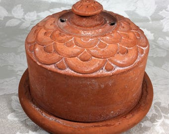 Clay Butter Cheese Keeper Germany Antique Rustic Farmhouse Cottage Kitchen Collectible Vintage