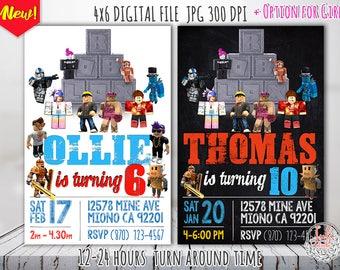 Roblox Birthday Invitation, Roblox Invitation, Roblox party supplies, Roblox Party printables, Roblox invitation digital download
