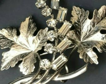 CARL ART Signed Vintage Sterling Silver and Rhinestone Brooch and Earring Set