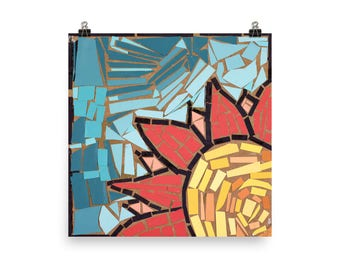 Yellow and Red Sunflower Mosaic - Beautiful Archival Cotton Rag Fine Art Giclée Print Supporting the Nonprofit Fresh Artists